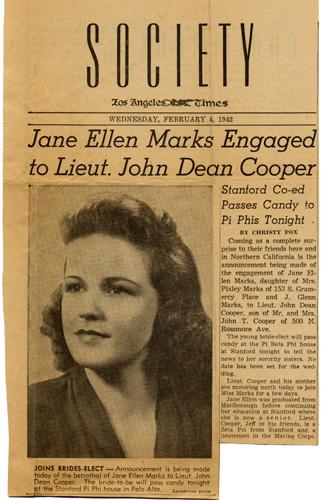 Newspaper engagement announcement, 1942.