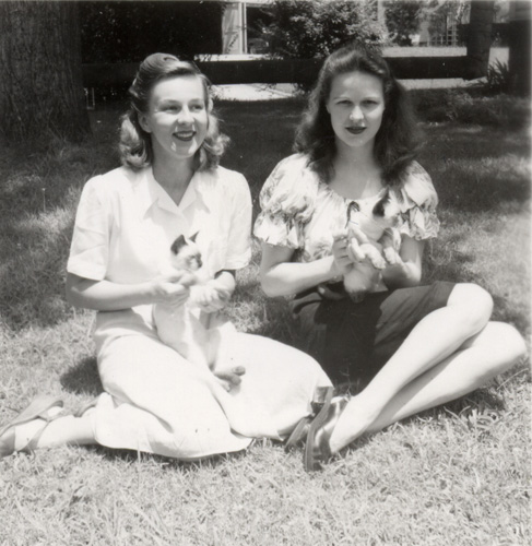 Janelle and Harriet Rich with some of the first of the many Cooper family feline companions.
