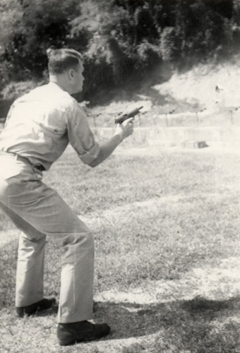 Early work with the service auto pistol at the F.B.I. range.
