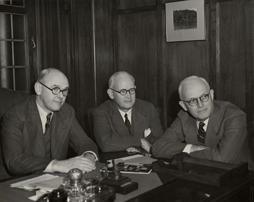 Jack with two of his associates at the bank. Jack is on the right. One of the other two men is Mr. O'Melveny, a well-known name in California business circles.