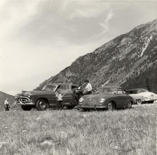 The Hudson and the Porsche taking a break during the summer trip across country, 1953.