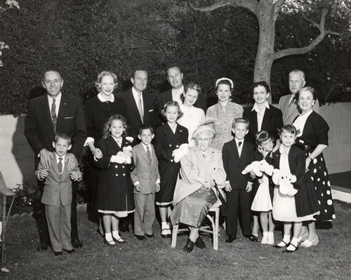The entire Cooper clan gathered on the back lawn of the house at 500 North Rossmore on 1 April 1956.