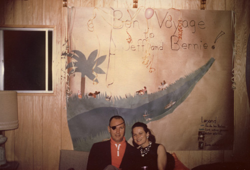 Jeff and Janelle at the Bon Voyage party before the Rio Balsas trip, 31 December 1961
