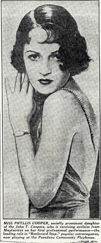 Phyllis, in an early newspaper article from her stage days.
