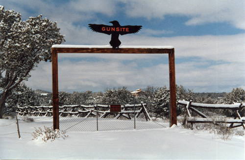 The Gunsite gate in winter.