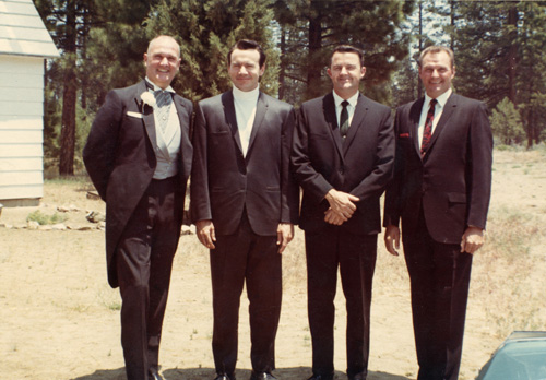Distinguished competitive shooters made distinguished wedding guests. From left to right: Jeff, Elden Carl, Al Nichols, & Ray Chapman.