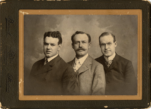 Janelle's grandfather, DeWitt Clinton Pixley, center. His brothers are Arthur Homer on the lift and Harvey on the right.