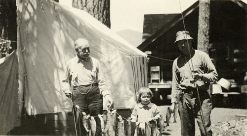 An early Big Bear photo shows a very young Jane Ellen with her grandfather on the left and her father on the right.