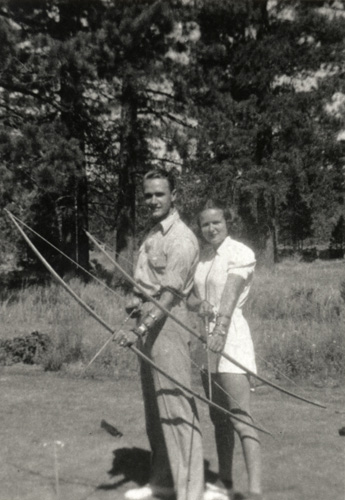 Jeff and Jane Ellen, trying a little archery in Big Bear, 1938.