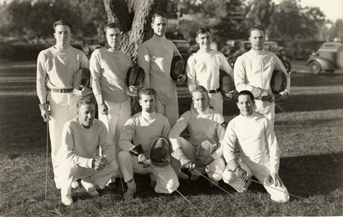 Jeff and the Stanford varsity fencing team. He is in the middle of the back row.