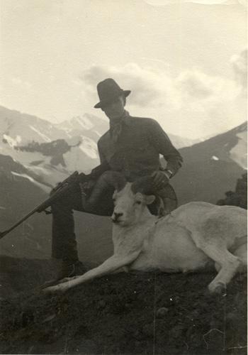 Jeff and his Yukon Dall sheep, 1940