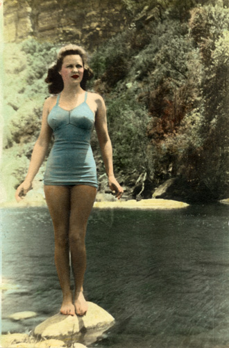 Janelle on her first hunting/camping trip with Jeff (and his father), 1941