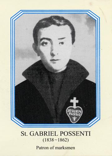 St. GABRIEL POSSENTI (1838-1862). Patron of marksmen.