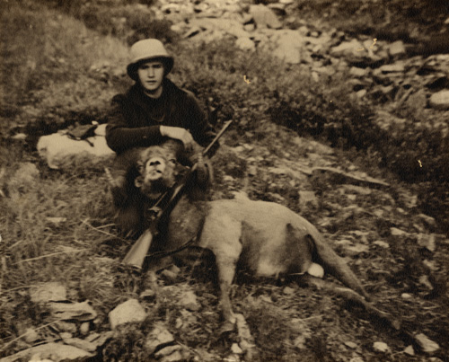 Jeff and his prize-winning Bighorn sheepm 1939.