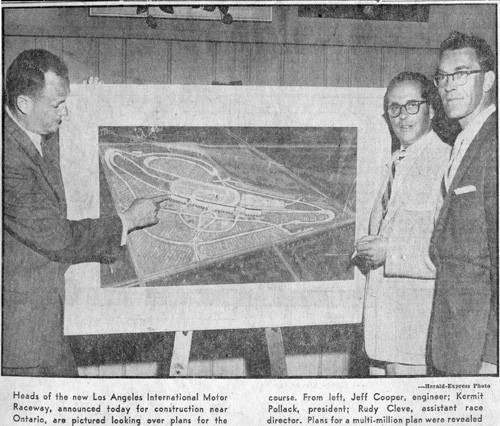 Announcement of construction of Ontario Raceway, near Los Angeles. 6 March 1956. From left, Jeff Cooper, engineer: Kermit Pollack, president: Rudy Cleve, assistant race director.